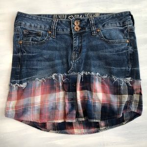 Upcycled grunge blue jean flannel mini skirt